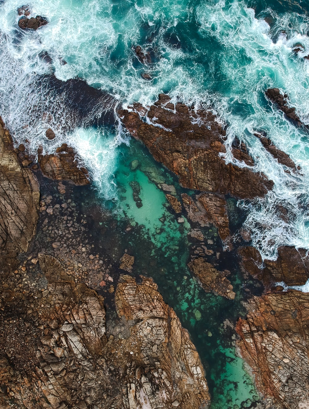 top angle view of green sea waves