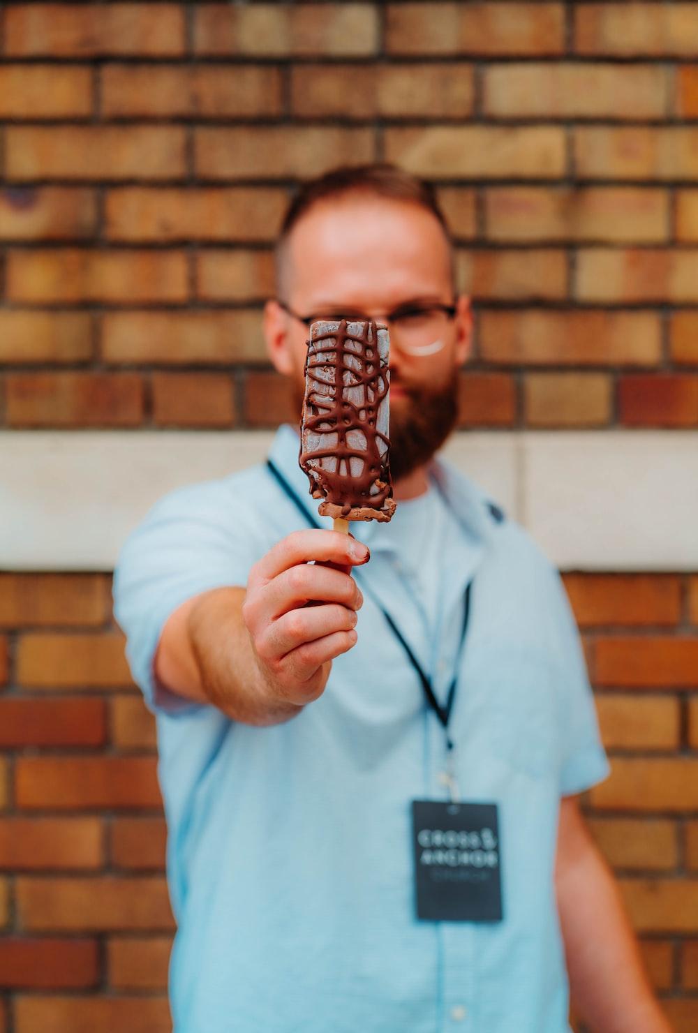 man holding ice cream