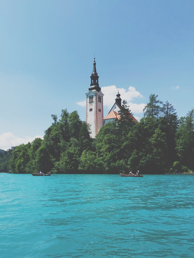 the maria church on top of Bled Island.