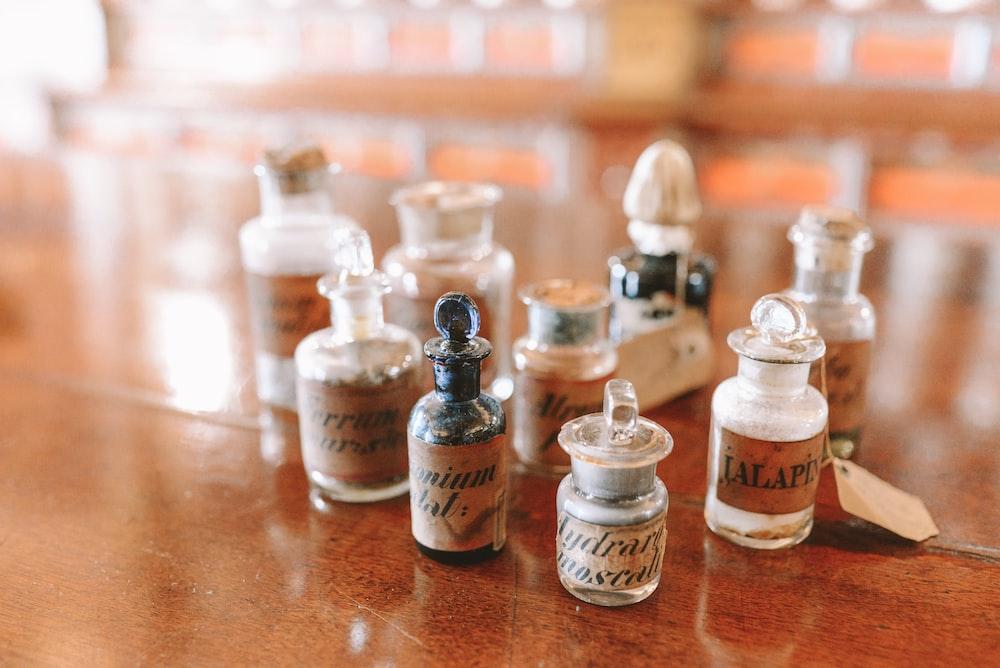 closeup photo of assorted vials