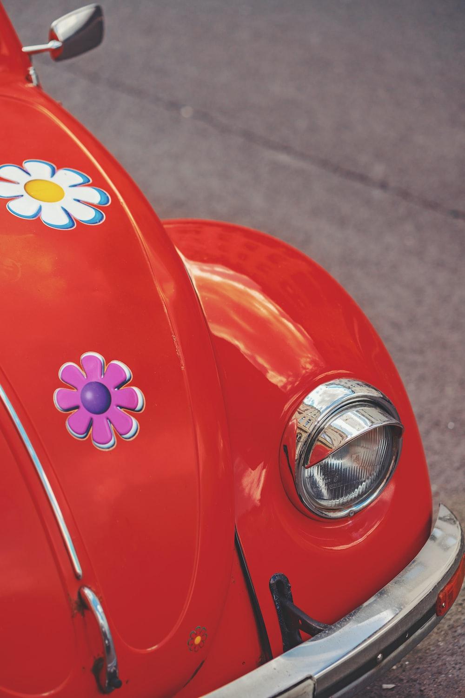 red Volkswagen Beetle coupe