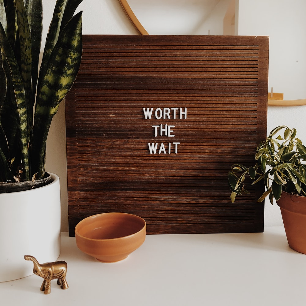 white Worth The Wait sign on brown wooden board