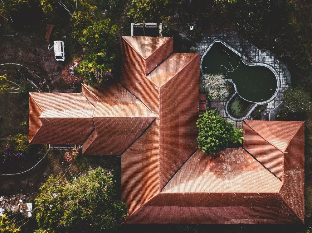 top view photo of brown roof