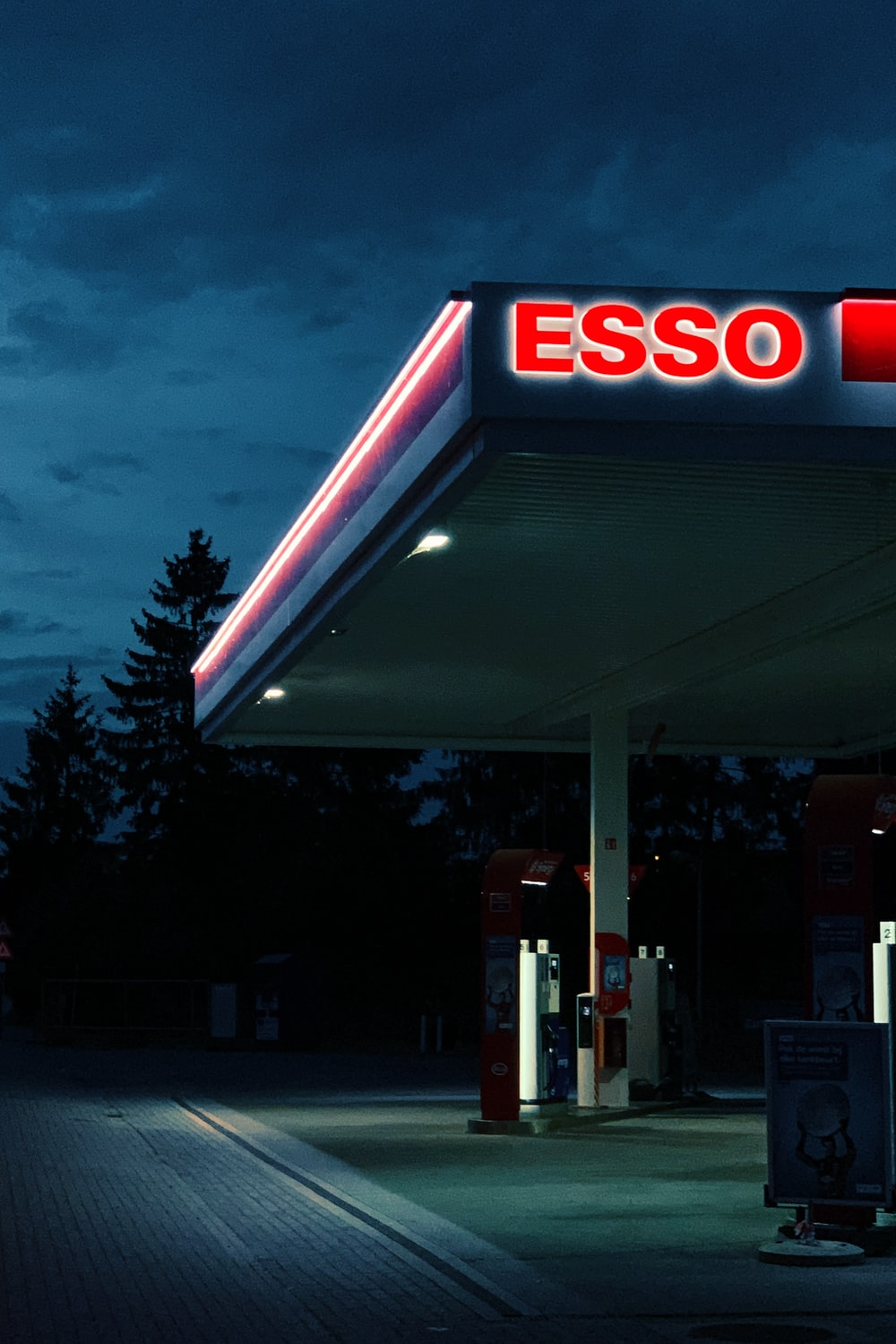 Esso gas station during night