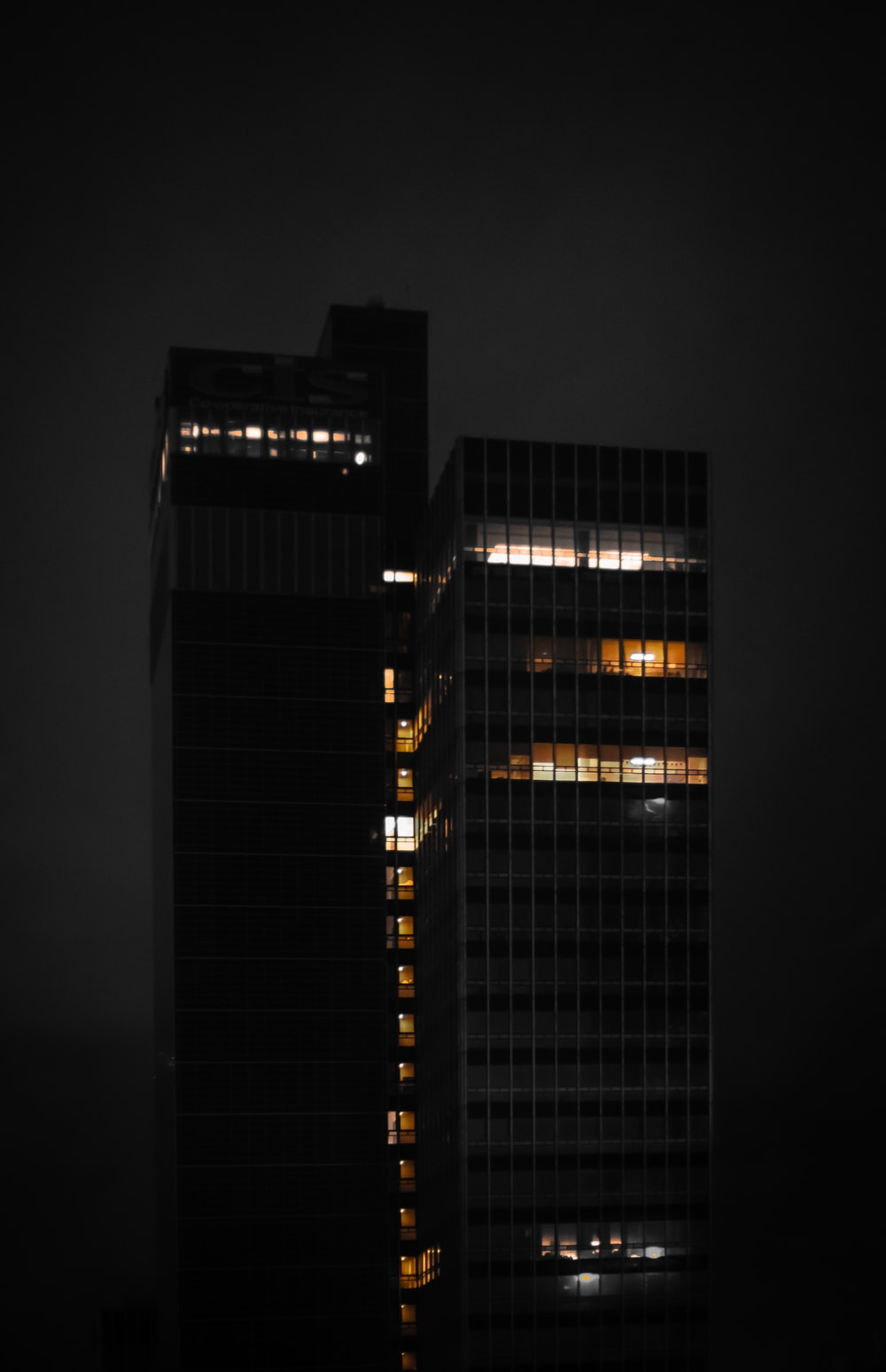 lighted buildings during nighttime