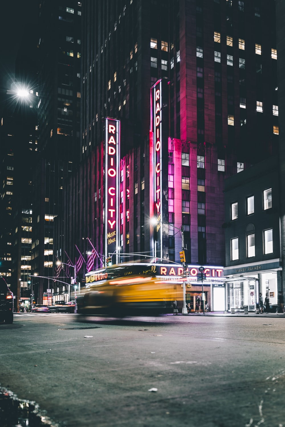 radio city buildings in time lapse photography