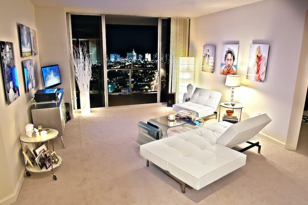 living room set with white sofa