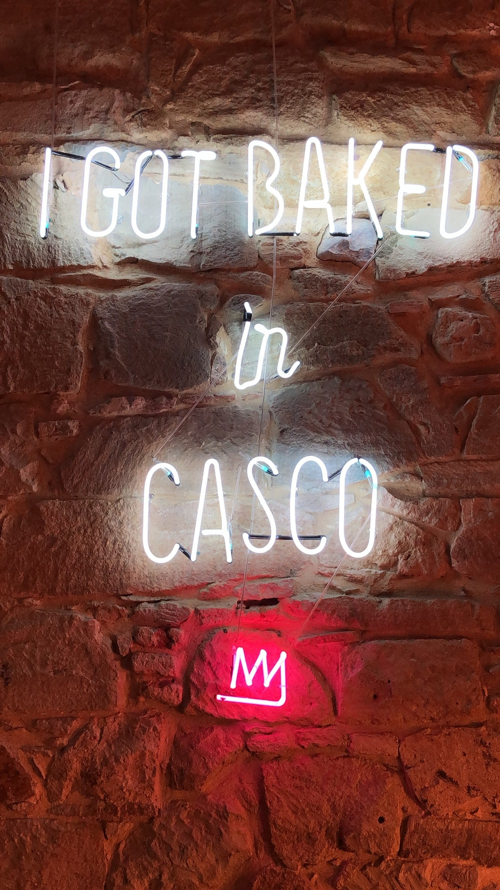 i got baked in casco neon signage