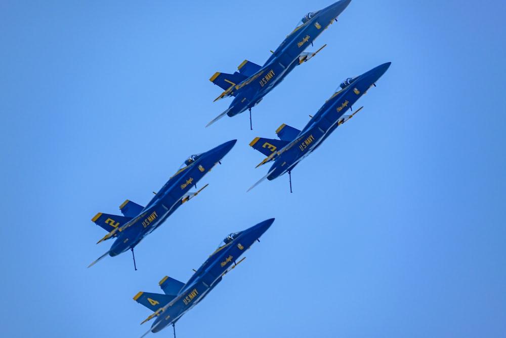 4 blue jet planes photo