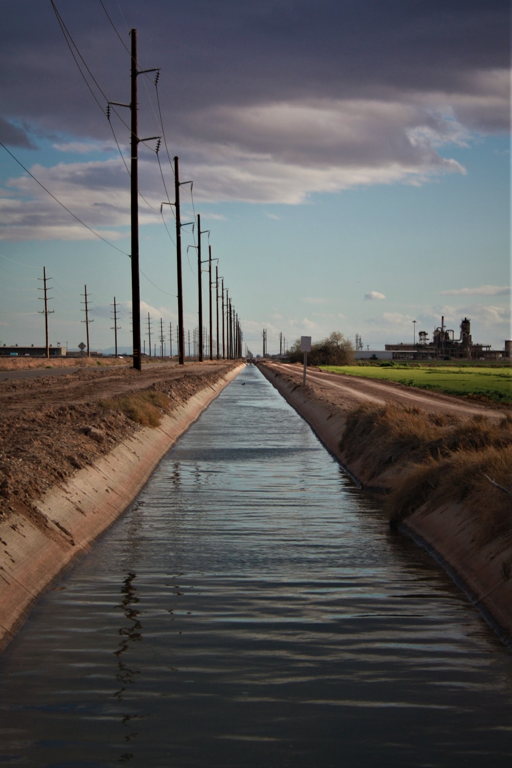 body of water beside electric posts