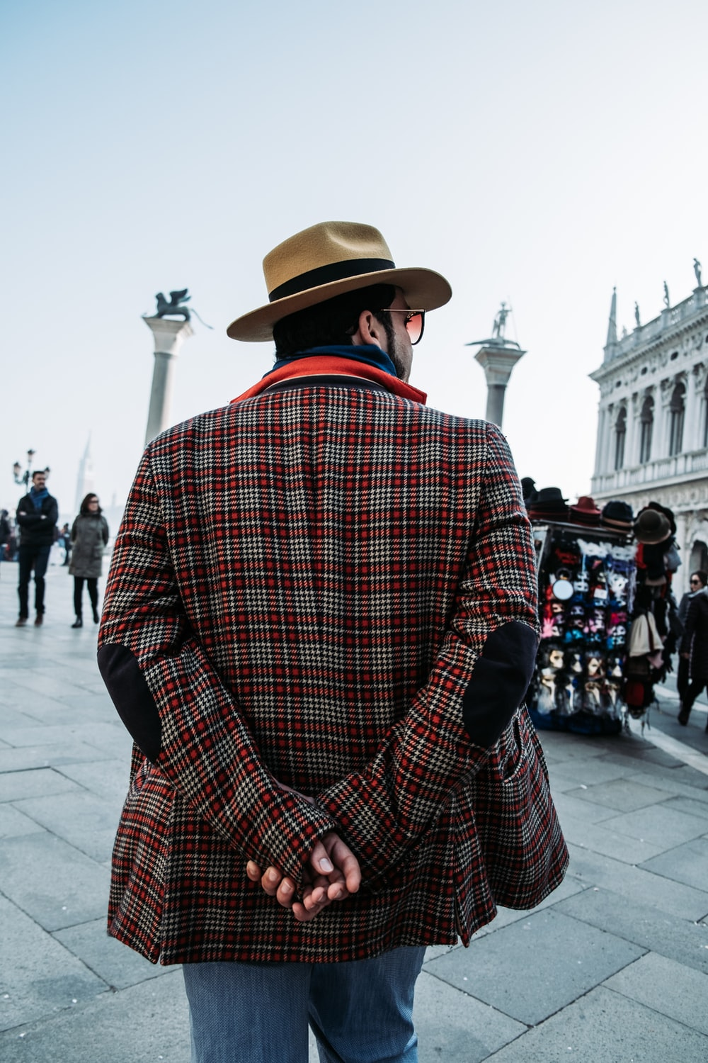 man in red plaid jacket