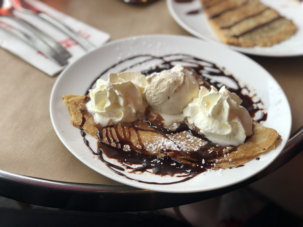 crepe with ice cream and syrup