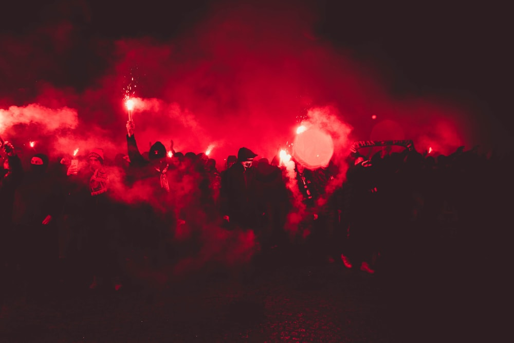 red smokes during night
