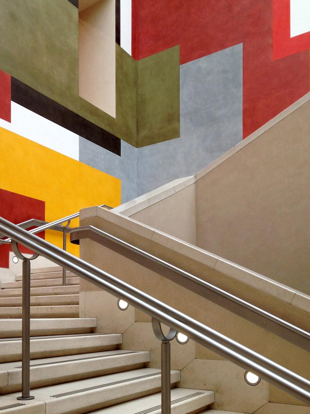 silver metal stair rail
