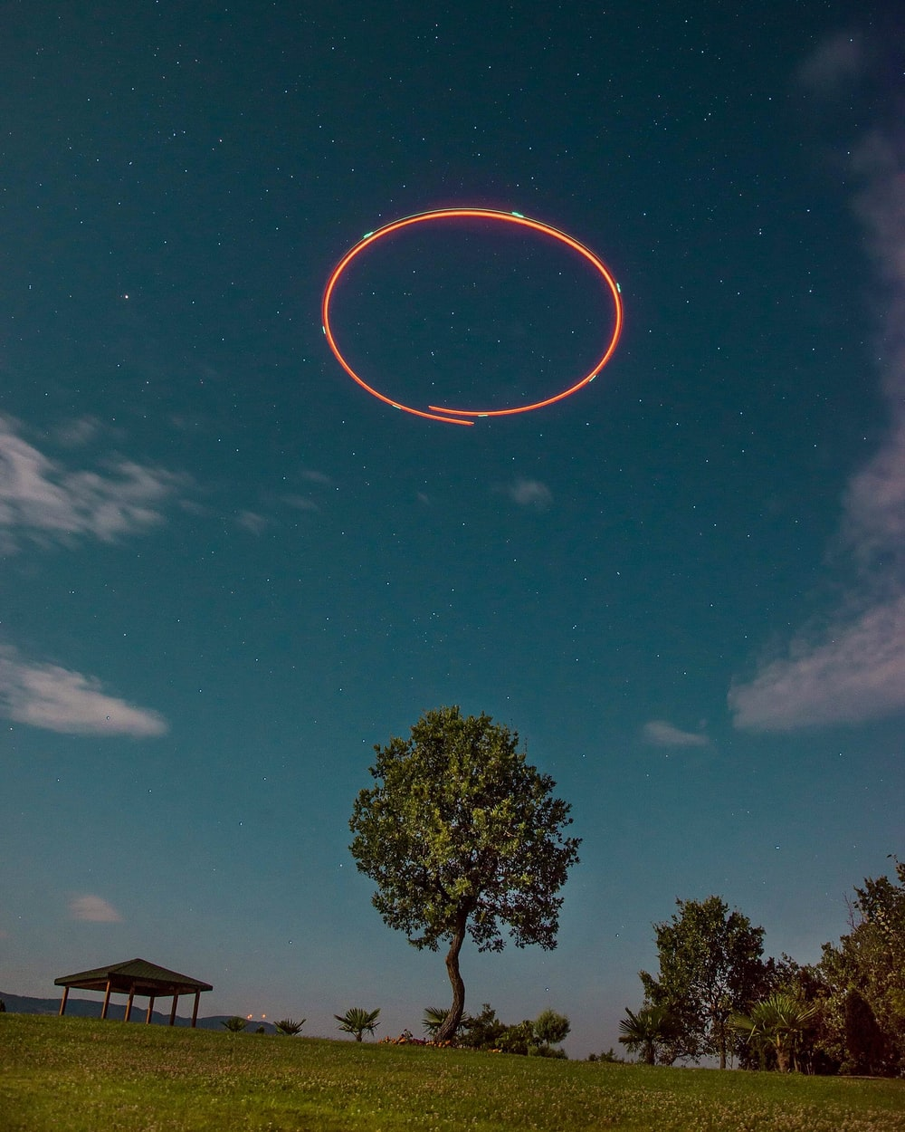 red ring on sky during daytime
