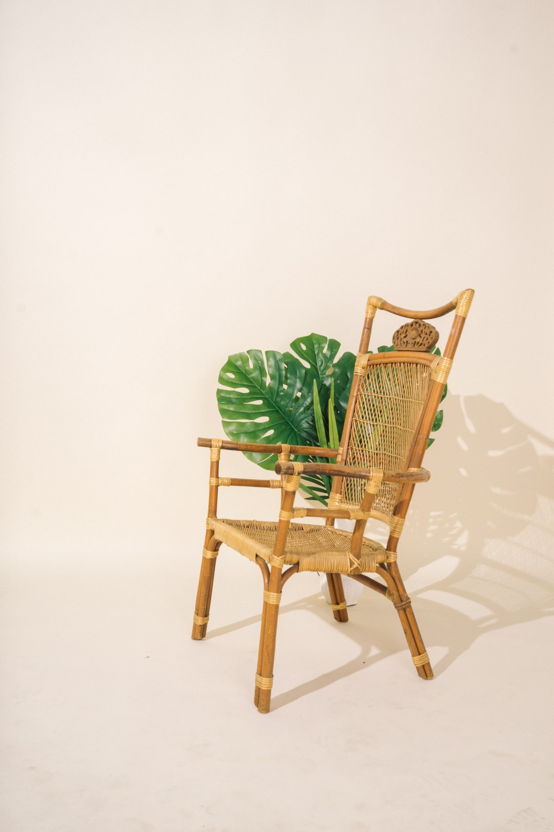 Ratan Chair on a Cream Seamless Backdrop Background Plate