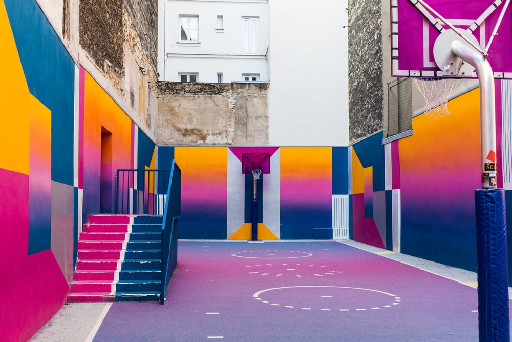 purple basketball court