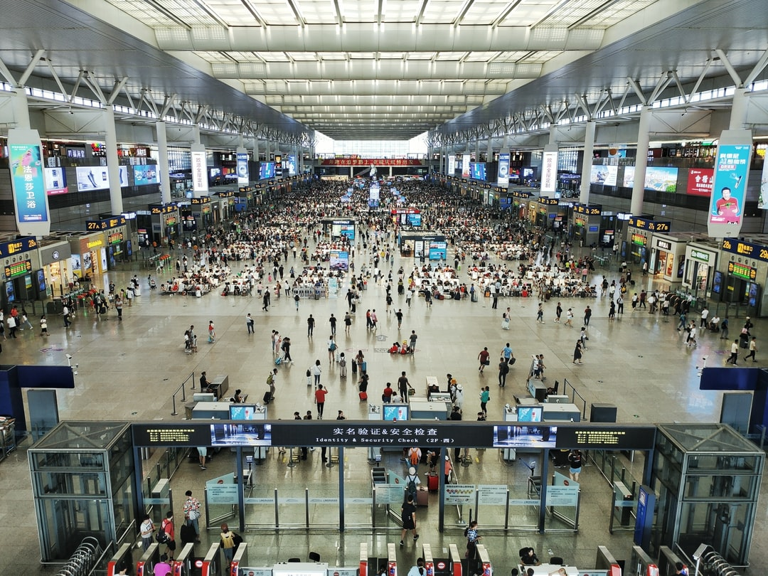 Inside Shanghai Hongqiao Railway Station.
