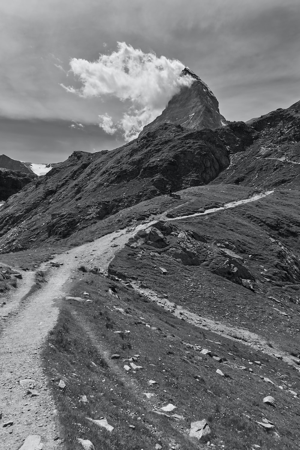 gray-scale photography of dirt road