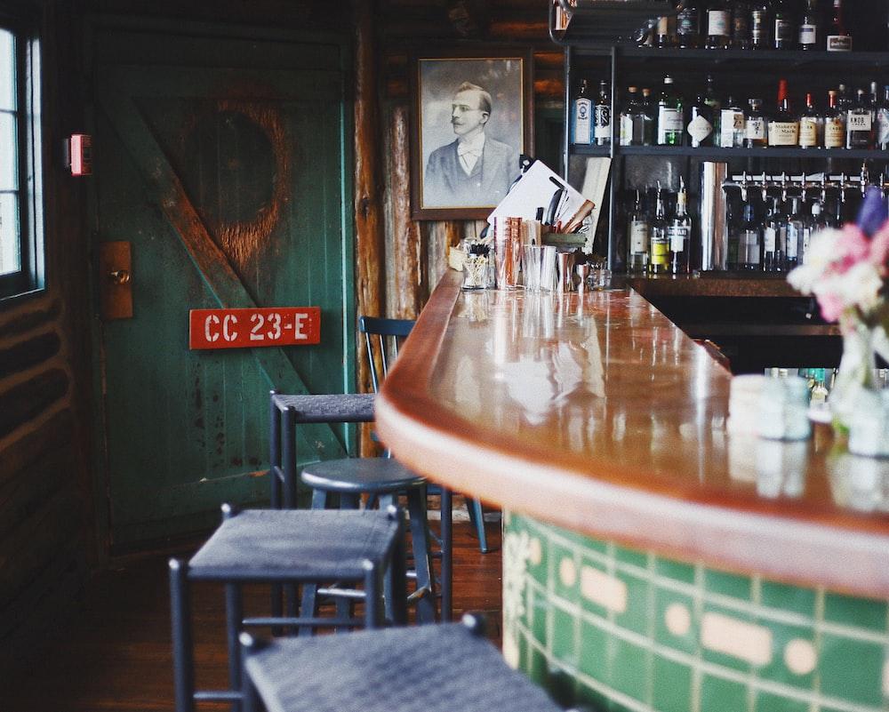empty bar stools near counter