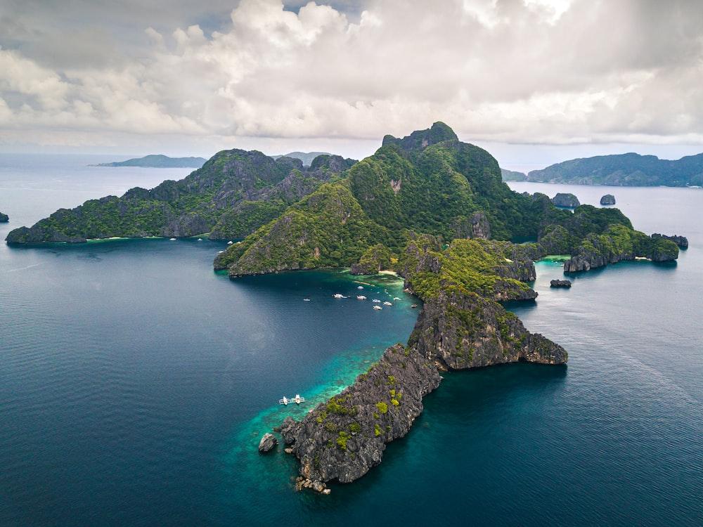 landscape photography of islet