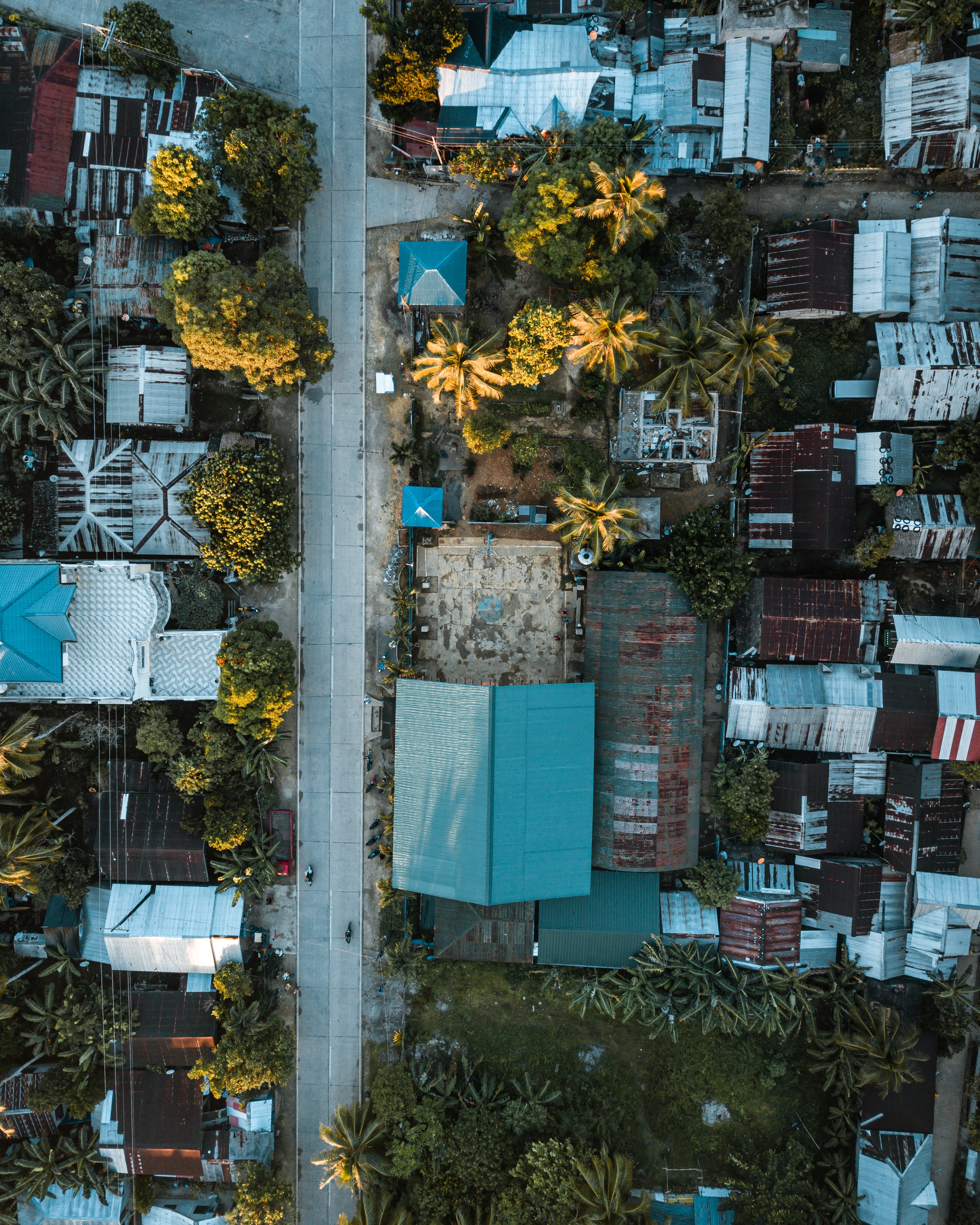 Drone shot of a small town near Cloud 9 in the Island of Siargao in the Philippines