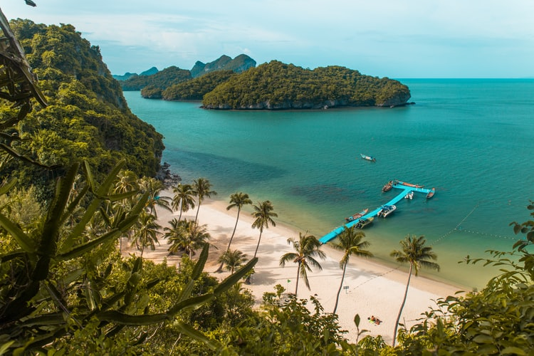 Beach side view of Ang Thong National Park
