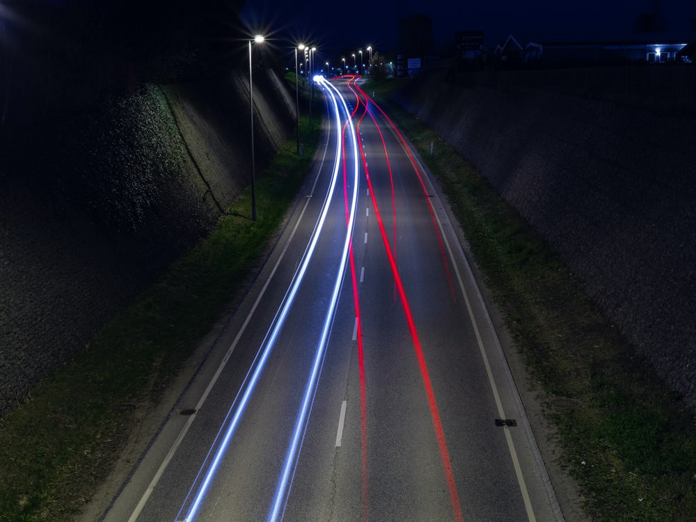 time lapse photography of \LED lights