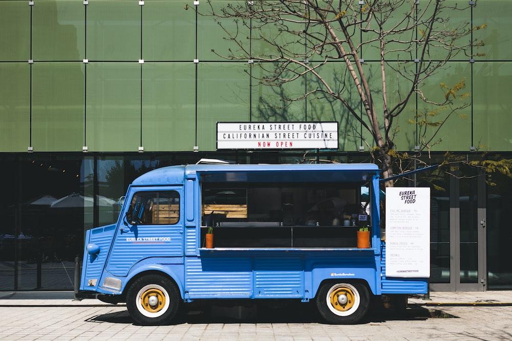 blue vehicle