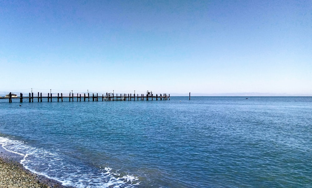 calm sea water with view of sea dock