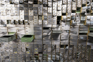 Empty bank vault safe deposit boxes