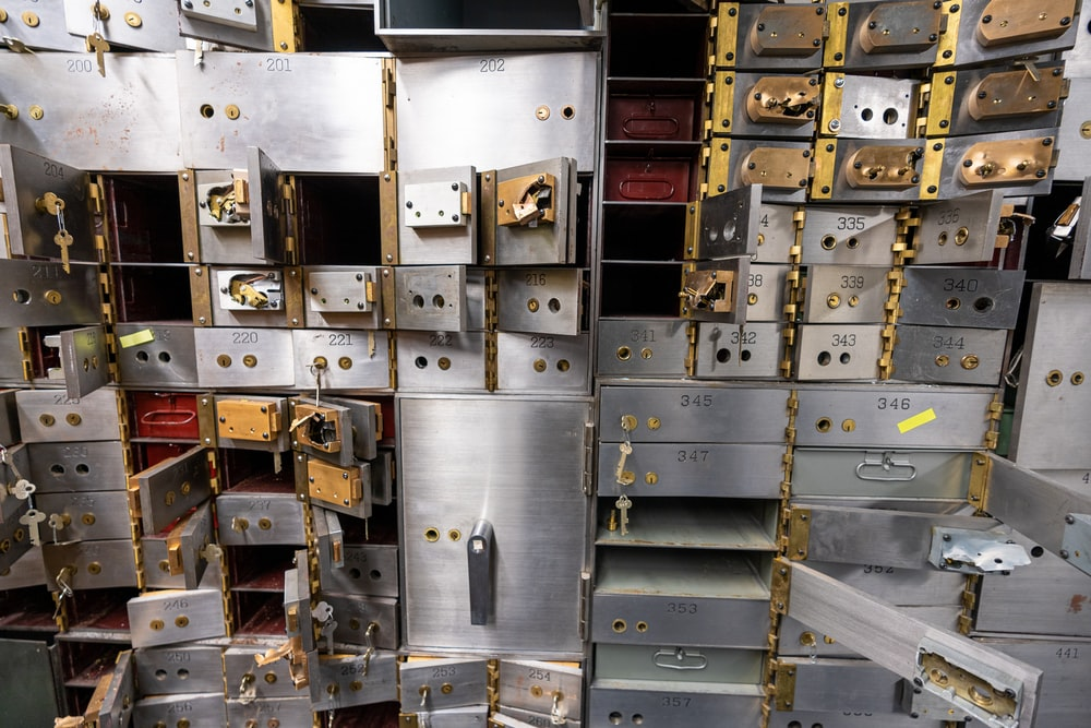 opened gray stainless steel drawers