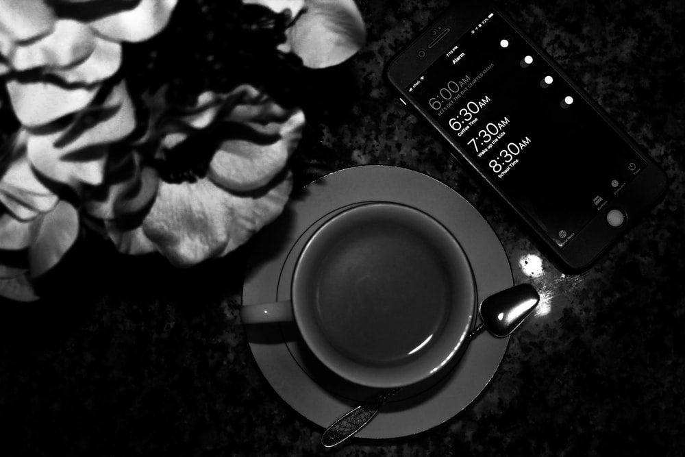 grayscale photography of teacup