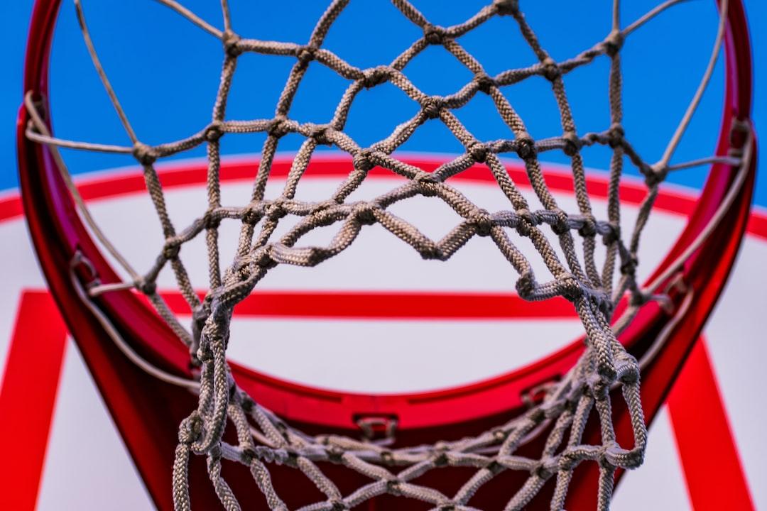 Outdoor basketball hoop at elementary school