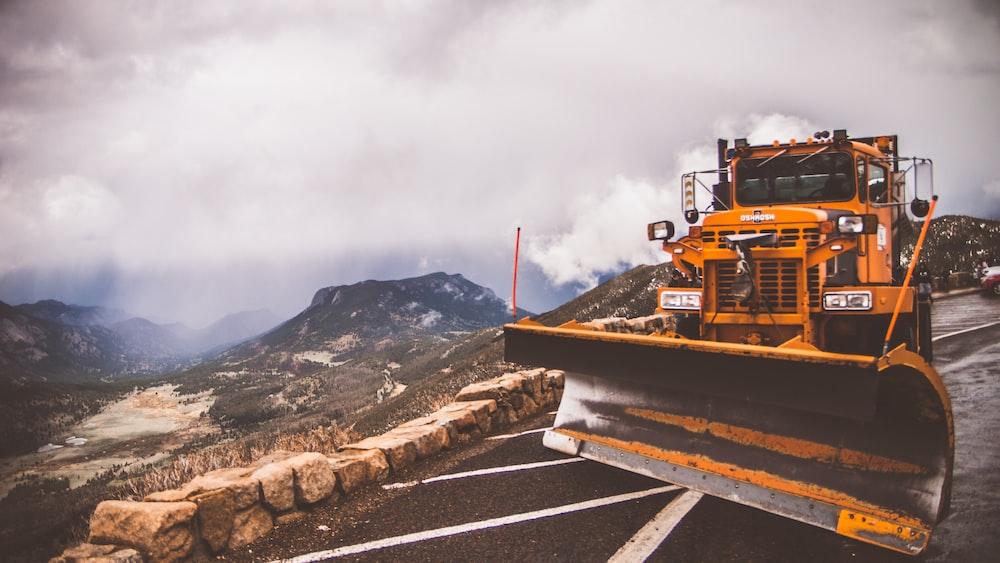 orange front-load tractor