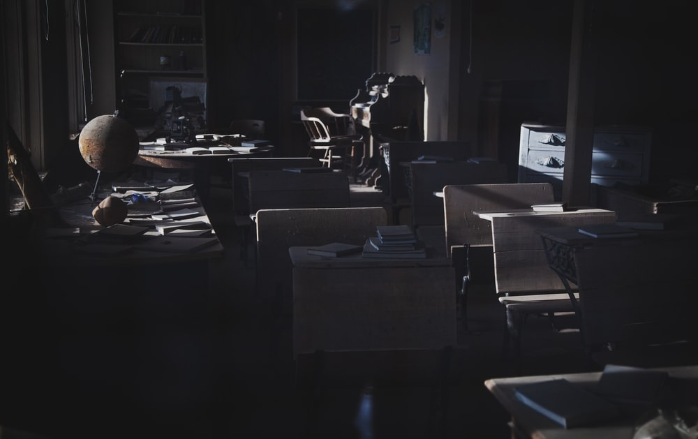 dimmed lighted office