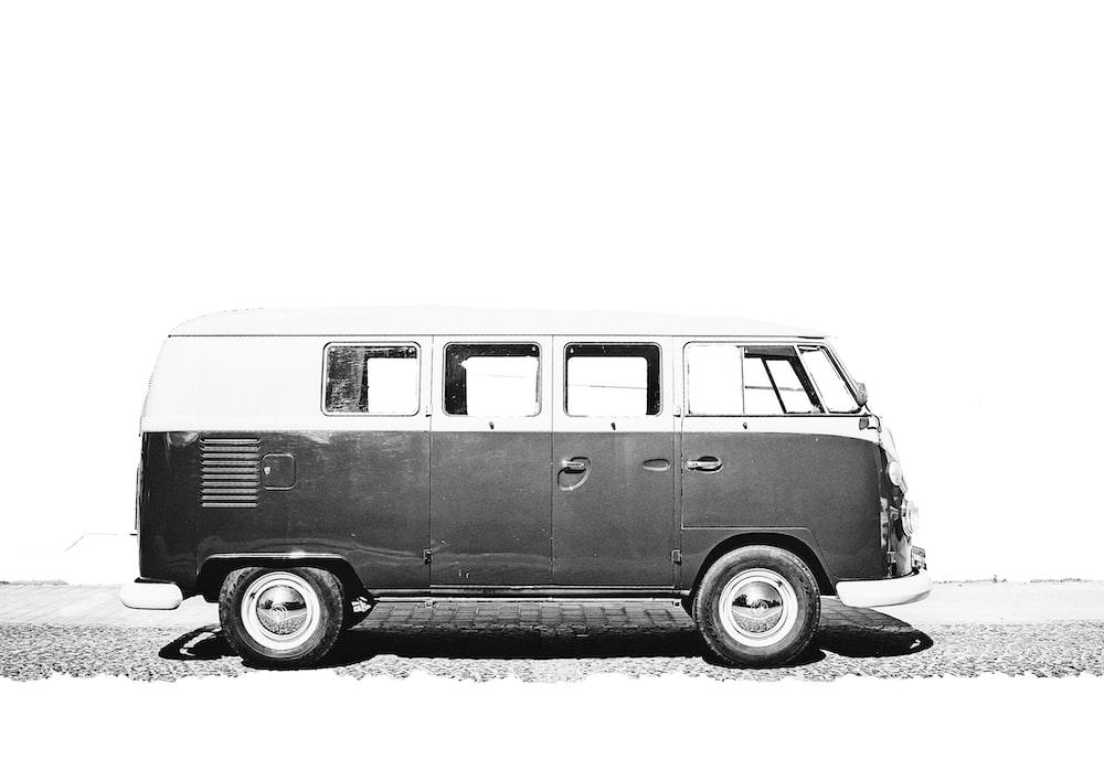 greyscale photo of van