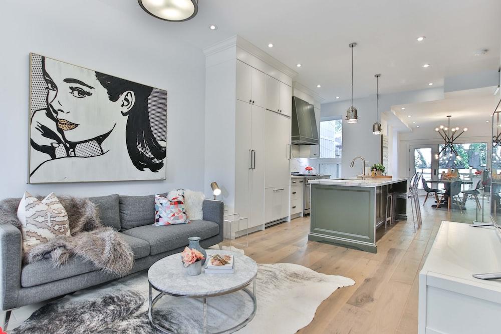 living room furniture near kitchen