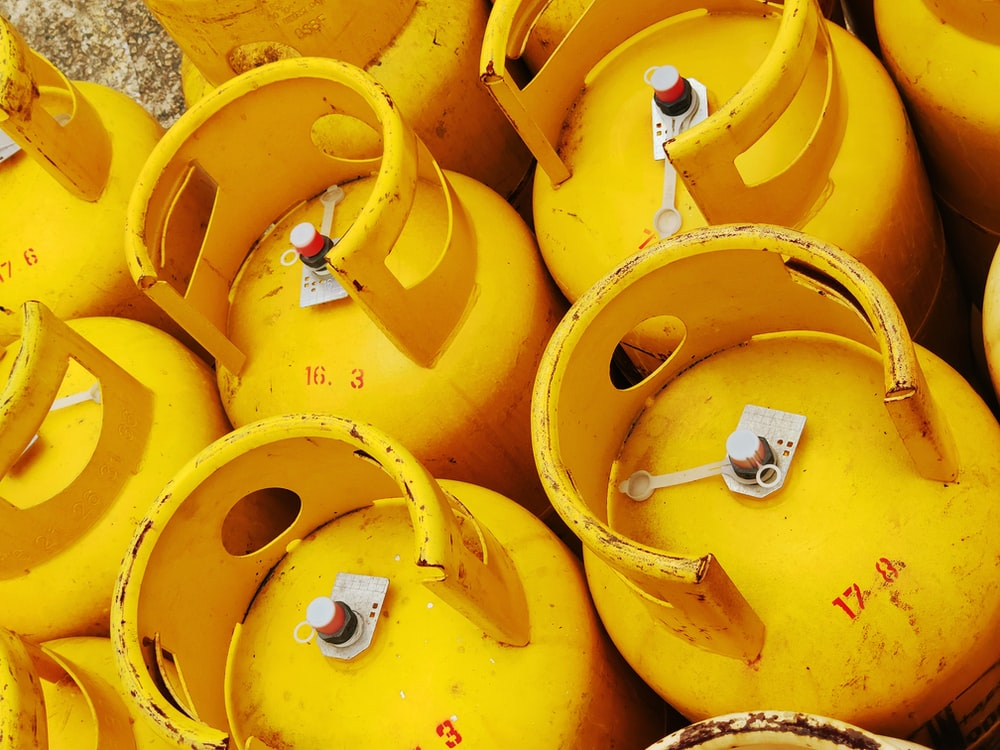 yellow propane tanks
