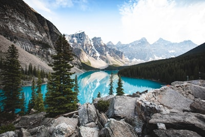 View of Moraine Lake from the Rock Pile in Banff, Alberta.