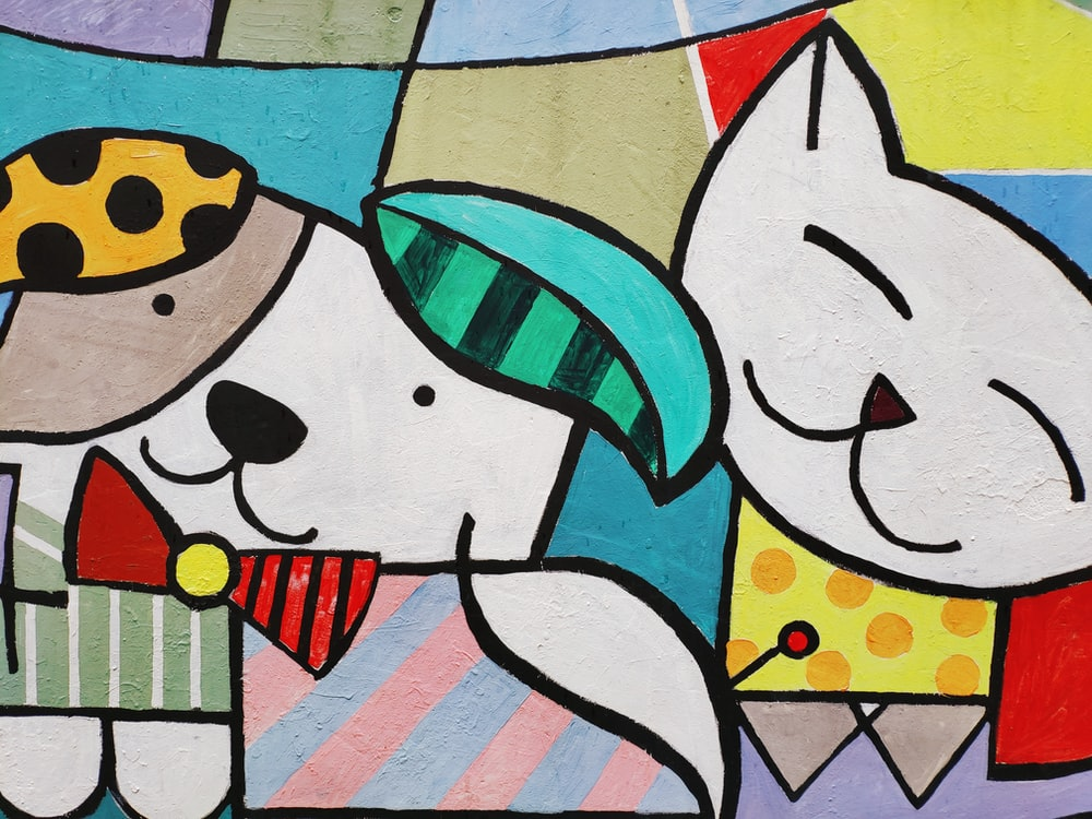 multicolored cat and dog painting