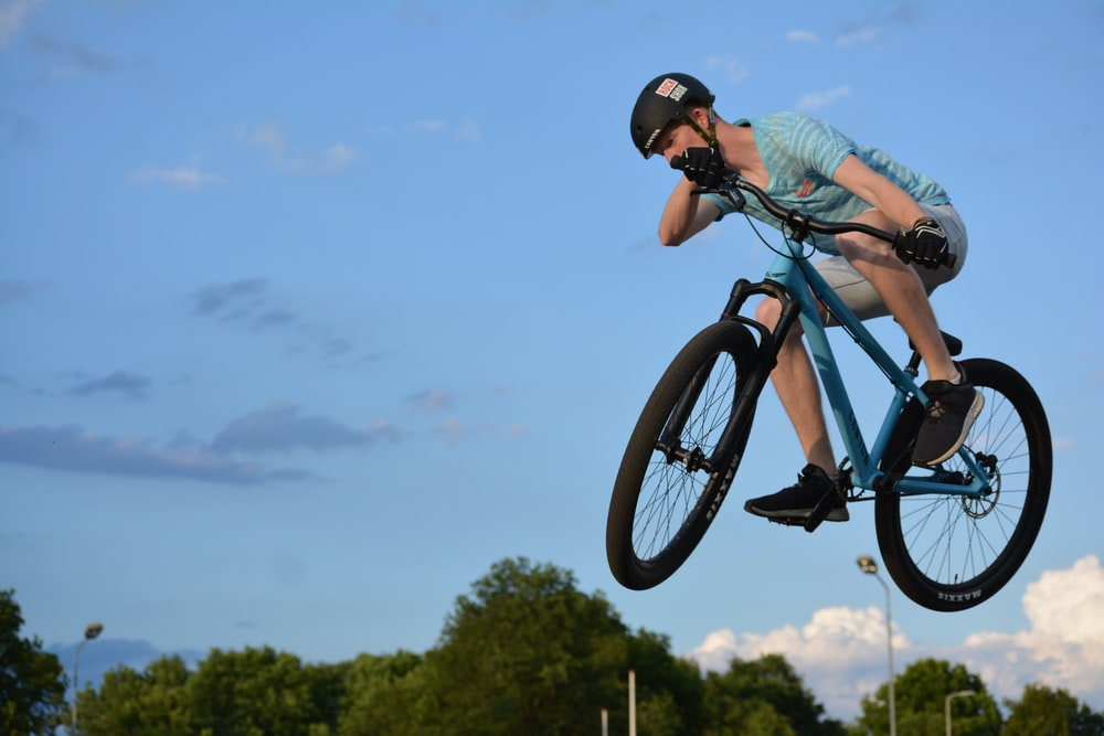 man biking and doing stunts