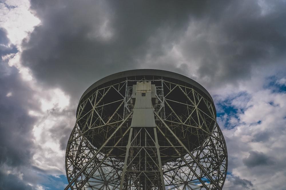 white metal satellite