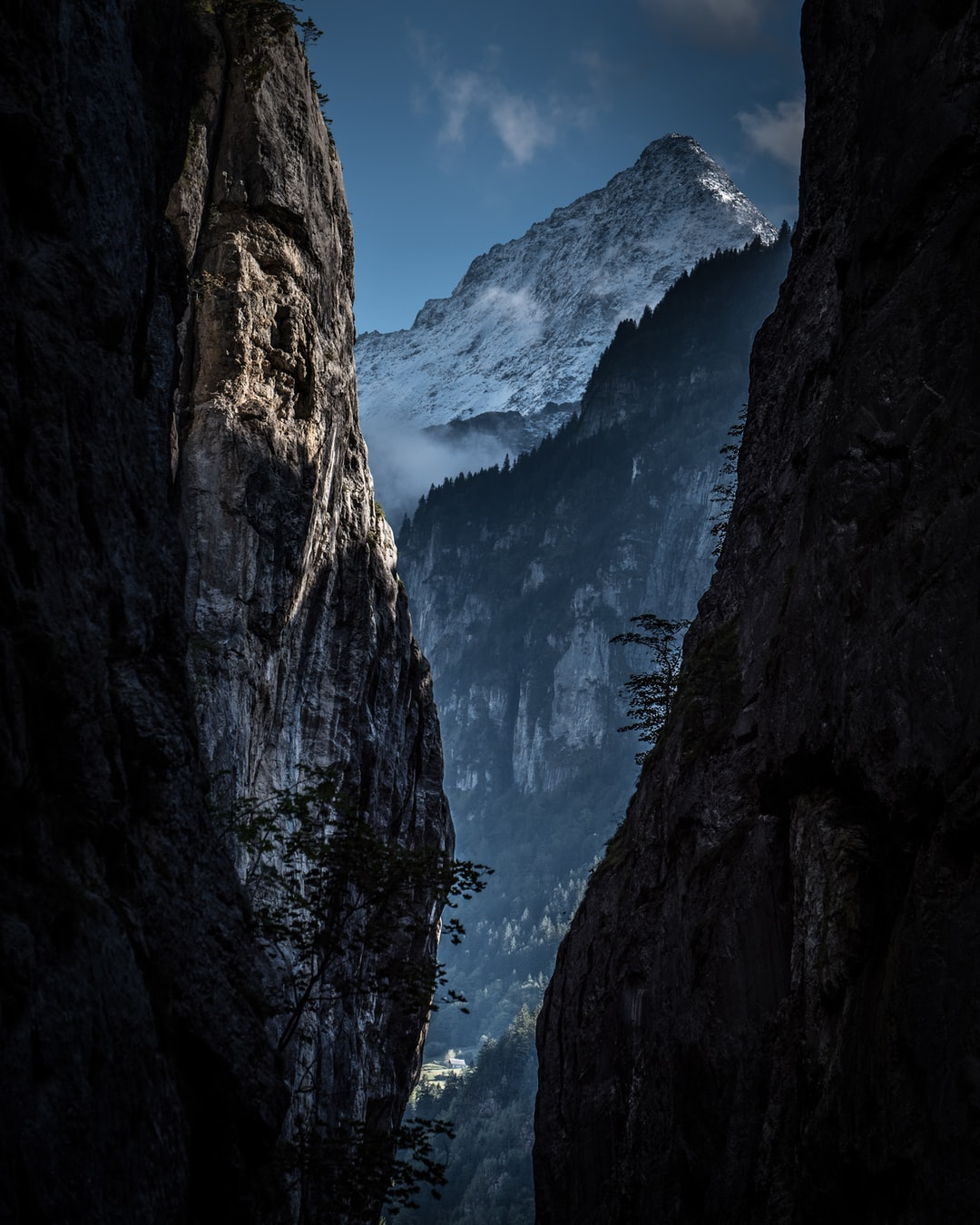 view out of Aare gorge in Berner Oberland region, majestic mountain peak throning high, Swiss mountains, Swiss alps