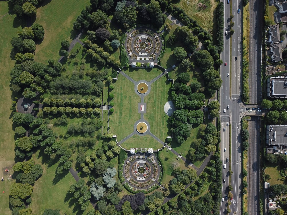 aerial photo of garden