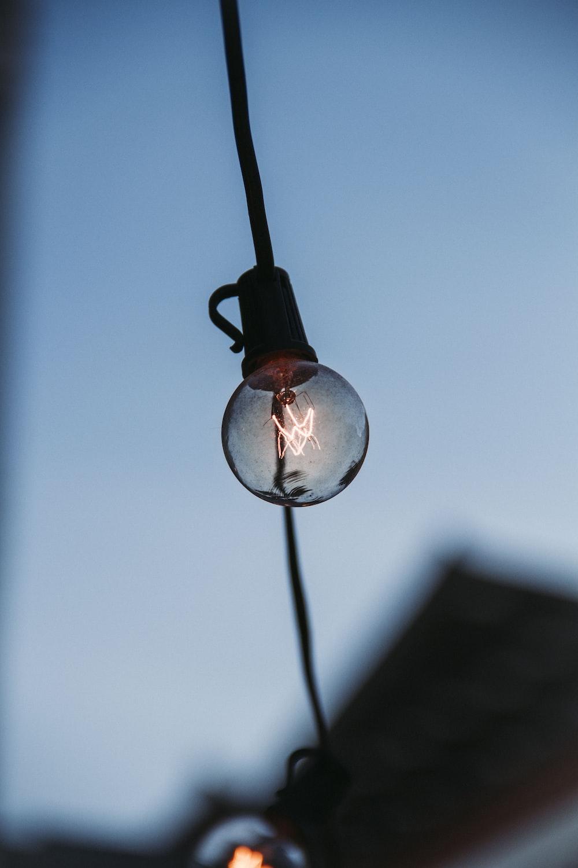 turned on LED bulb