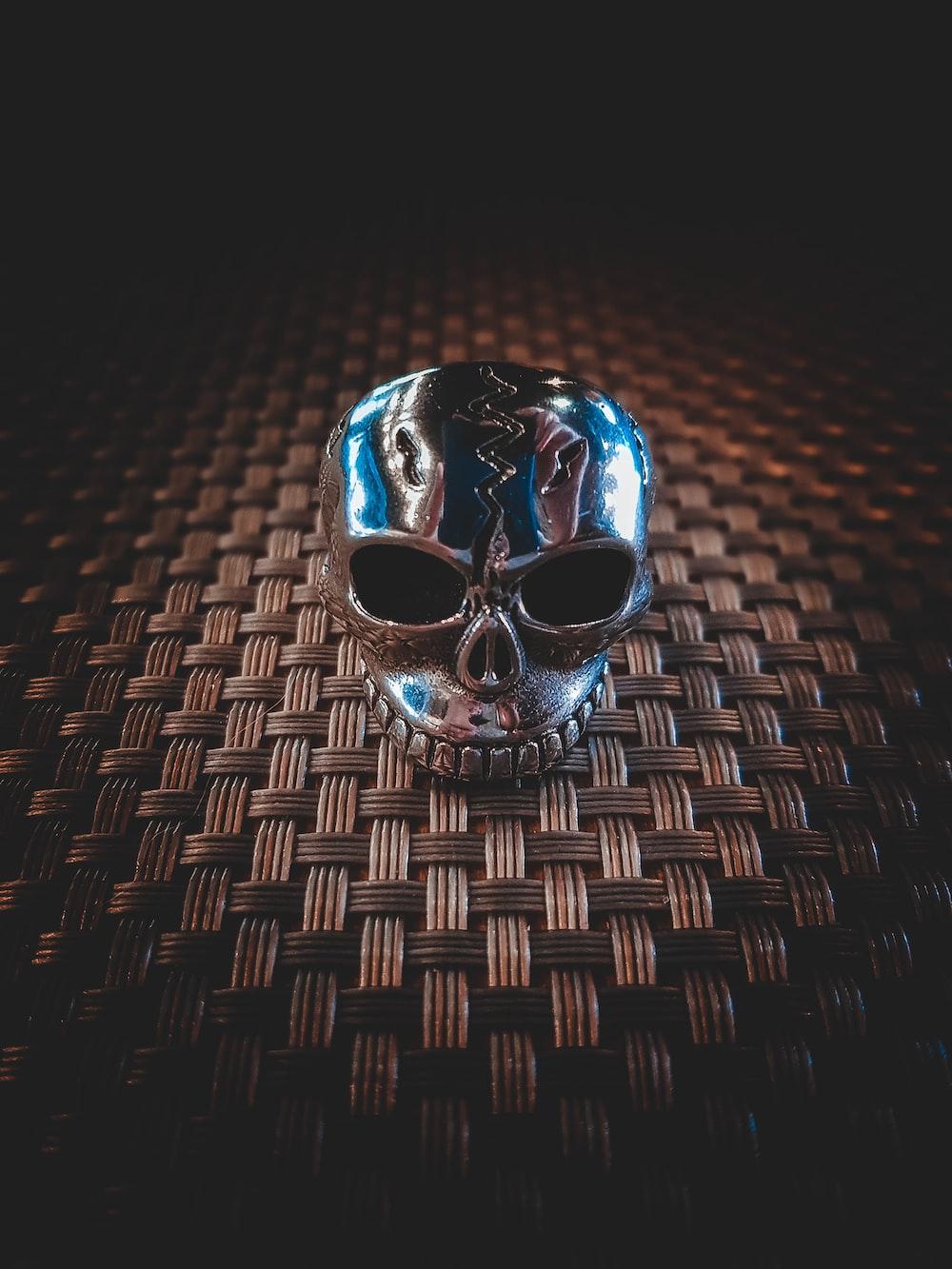 silver skull decor
