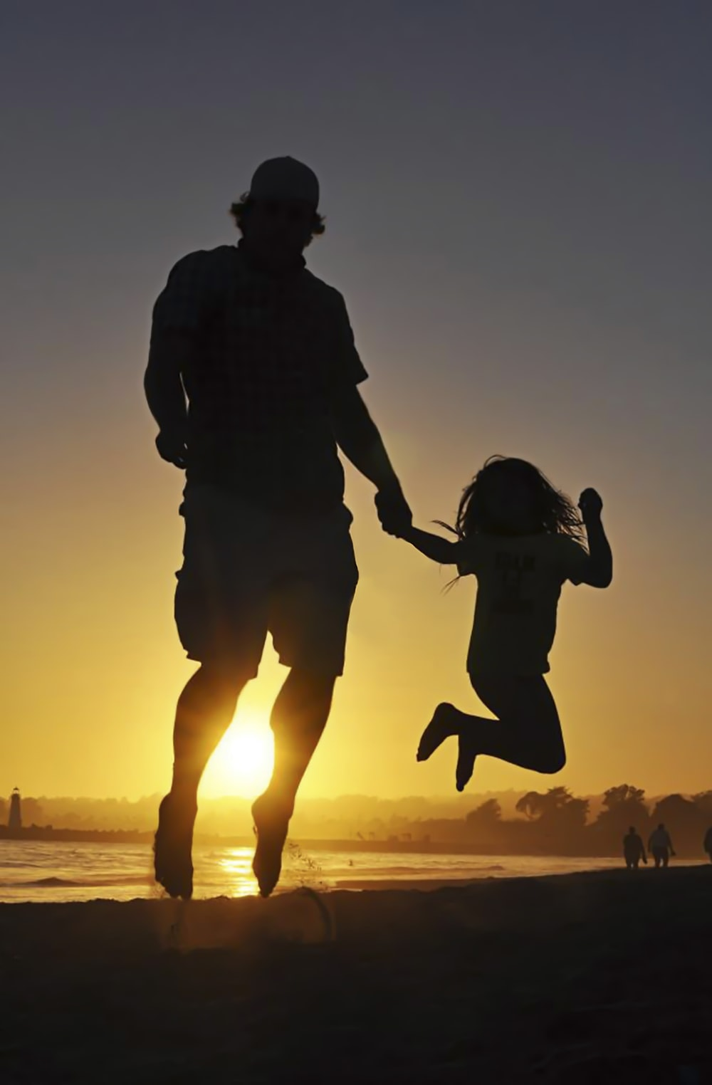 silhouette of girl and man