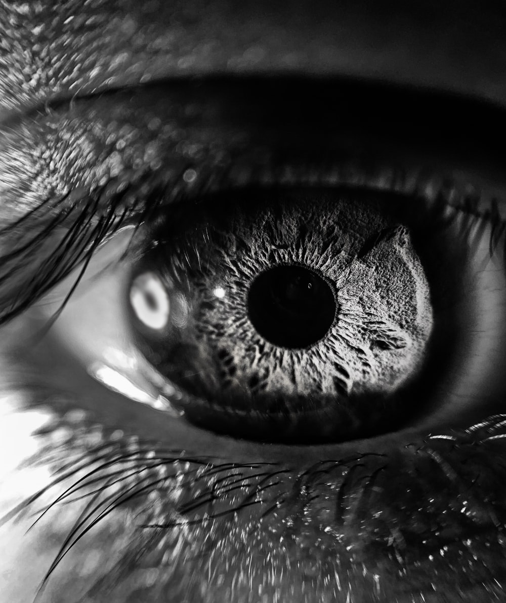 grayscale photography of person's eye