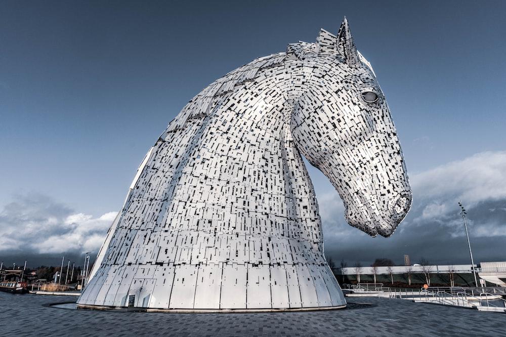 white horse head statue